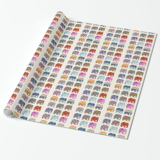 fun colorful funky elephant design wrapping paper