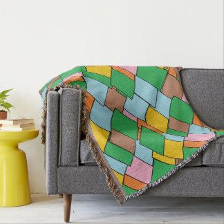 Fun Colorful Geometric Pattern Throw Blanket