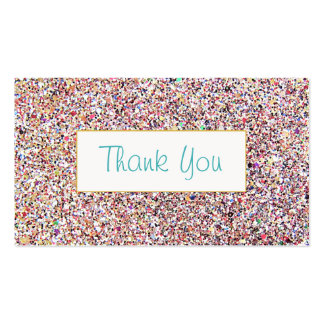 Fun Colorful Glitter Look Thank You Insert Pack Of Standard Business Cards
