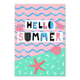 Fun Colorful Illustrated Summer Party Inivtation 9 Cm X 13 Cm Invitation Card