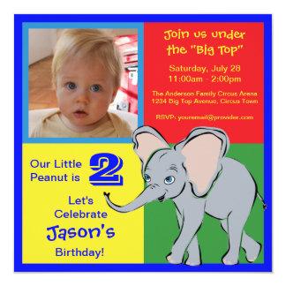 Fun Colorful Little Elephant Photo Invitation