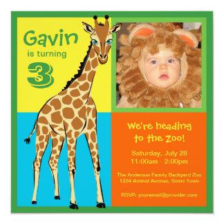 Fun Colorful Little Giraffe Photo Invitation