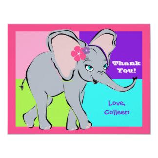 Fun Colorful Little Girl Elephant Note Card 11 Cm X 14 Cm Invitation Card