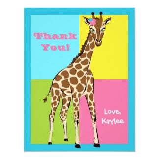 Fun Colorful Little Girl Giraffe Note Card 11 Cm X 14 Cm Invitation Card