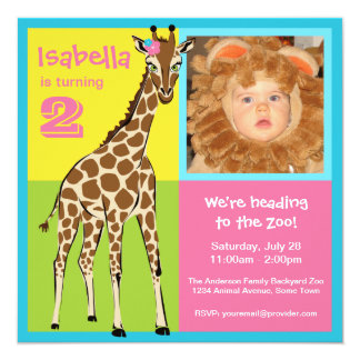 Fun Colorful Little Girl Giraffe Photo Invitation