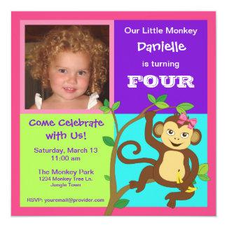 Fun Colorful Little Girl Monkey Photo Invitation