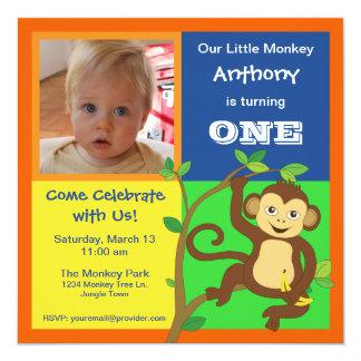 Fun Colorful Little Monkey Photo Invitation