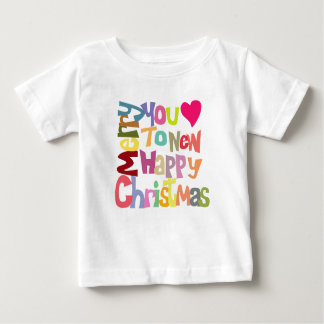 Fun Colorful Merry Christmas Text On Kids T-shirt