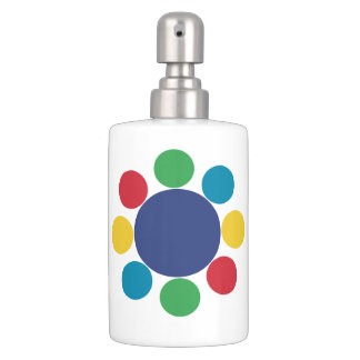 Fun Colorful Modern Abstract Kids Design Soap Dispenser And Toothbrush Holder