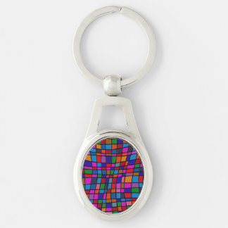 Fun Colorful Mosaic Tiles Pattern Keychains