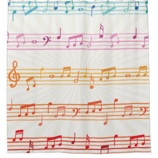 Fun Colorful Music Notes Pattern Shower Curtain