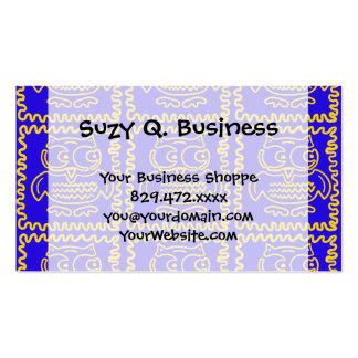 Fun Colorful Owls Blue Yellow ZigZag Pattern Business Card