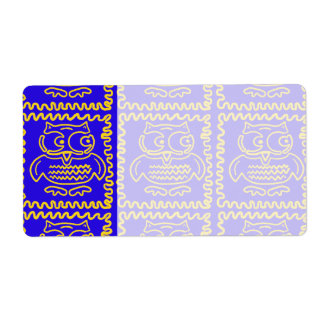 Fun Colorful Owls Blue Yellow ZigZag Pattern Shipping Label