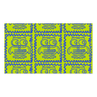 Fun Colorful Owls Lime Green Blue ZigZag Pattern Business Card Templates