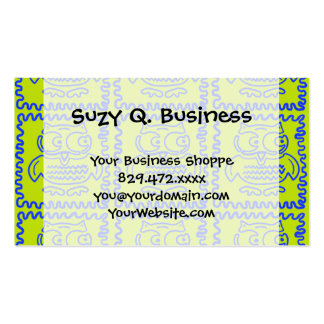 Fun Colorful Owls Lime Green Blue ZigZag Pattern Business Cards