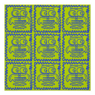 Fun Colorful Owls Lime Green Blue ZigZag Pattern Poster
