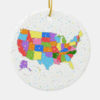 Fun Colorful Pastel Snowflakes and Map of the USA Round Ceramic Decoration
