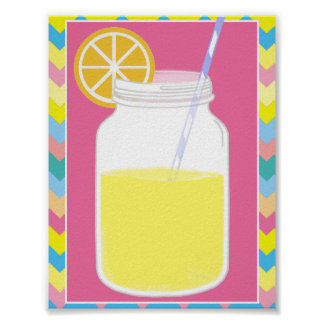 Fun Colorful Pink Lemonade Straw | Chevron Poster