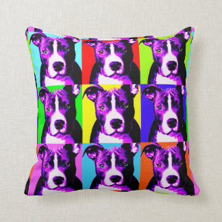 Fun & Colorful Pit Bull Print Throw Pillow