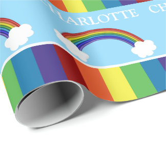 Fun Colorful Rainbow And Clouds Customizable Wrapping Paper