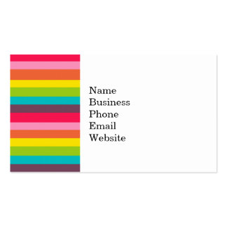 Fun Colorful Rainbow Stripes Girly Color Pattern Business Card Templates