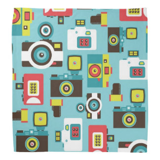 Fun Colorful Retro Lomo Cameras Pattern (Blue) Bandana
