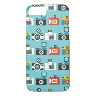 Fun Colorful Retro Lomo Cameras Pattern (Blue) iPhone 8/7 Case