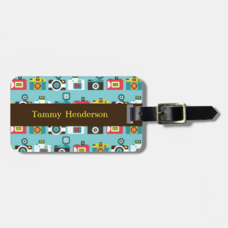 Fun Colorful Retro Lomo Cameras Pattern (Blue) Luggage Tag