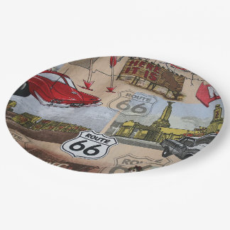 Fun Colorful Route 66 Collage Pattern Paper Plate
