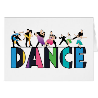 Fun Colorful Striped Dancers Dance Greeting Cards