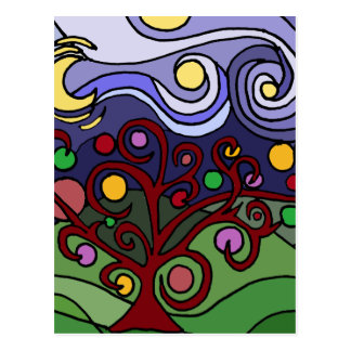 Fun Colorful Tree and Stars Abstract Postcard