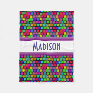 Fun & Colorful w/Name Fleece Blanket
