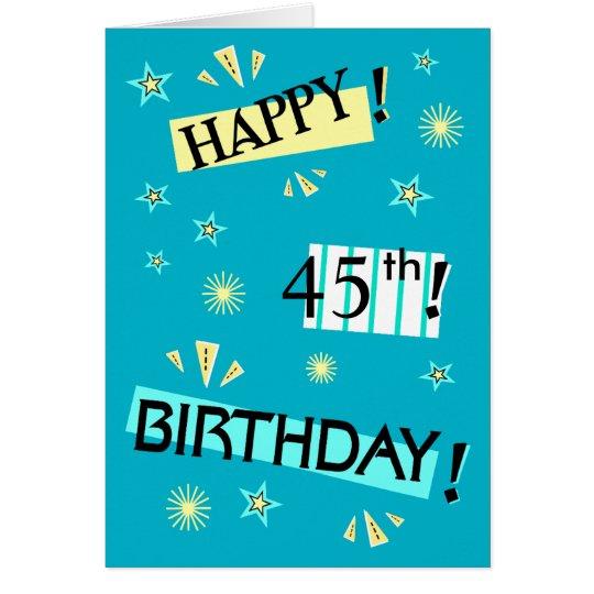 Fun Colour Block 45th Birthday Greeting Card