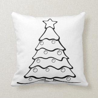 Fun Colour Me Christmas Tree Crafty Throw Pillow