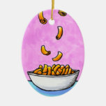 Fun colourful art mac and cheese comfort food christmas ornaments