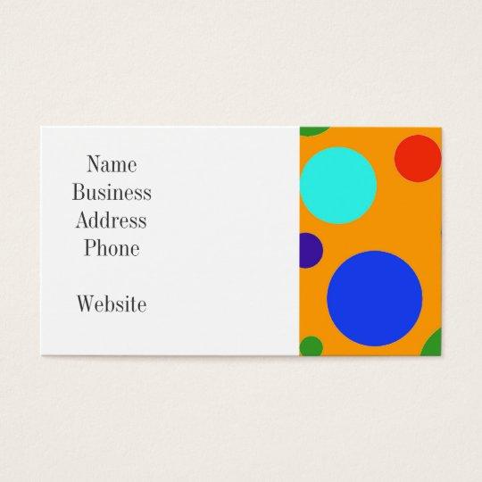 Fun Colourful Big Polka Dots Blue Orange Green Business Card