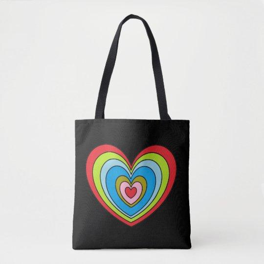 Fun Colourful Big Rainbow Heart Print Black Tote Bag