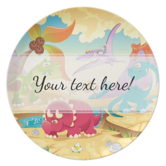 Fun Colourful Cartoon Dinosaurs Plate