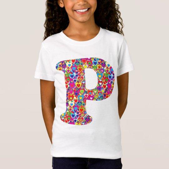 Fun Colourful Dynamic Heart Filled P Monogram T-Shirt