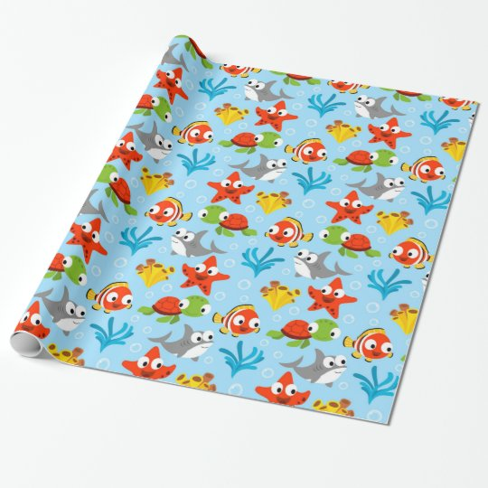 Fun Colourful Fish Ocean Kids Pattern Wrapping Paper