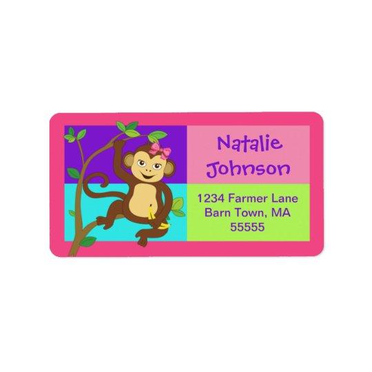 Fun Colourful Girl Monkey Address Label