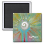 Fun colourful inspirational abstract art square magnet