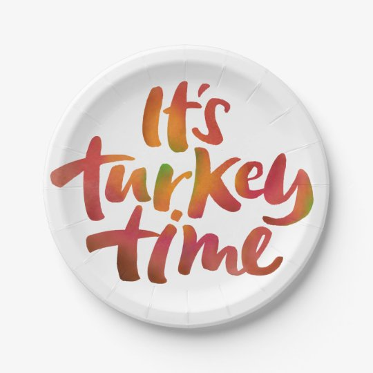 Fun Colourful It's Turkey Time Thanksgiving Dinner Paper