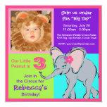 Fun Colourful Little Girl Elephant Photo Custom Invitations
