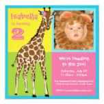 Fun Colourful Little Girl Giraffe Photo Invitation 13 Cm X 13 Cm Square Invitation Card