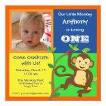 Fun Colourful Little Monkey Photo Invitation