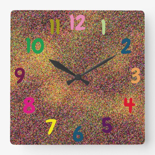 Fun Colourful Numbers Artsy Square Wall Clock