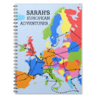 Fun Colourful Personalised European Travel Journal