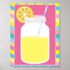 Fun Colourful Pink Lemonade Straw   Chevron Poster