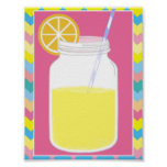 Fun Colourful Pink Lemonade Straw | Chevron Poster